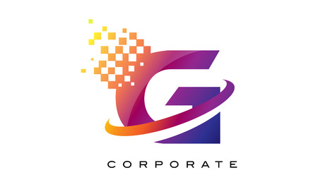 Lettre G Logo coloré. Lettre arc-en-G Icône avec blocs brisé.
