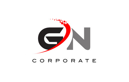 GN Modern Letter Logo Design with Red Swoosh and Dots Logó