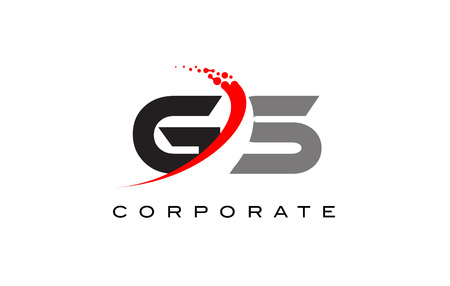 GS Modern Letter Logo Design with Red Swoosh and Dots