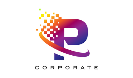 Letter P Colourful Logo. Rainbow P Letter Icon with Shattered Blocks. Illustration