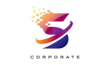 Letter S Kleurrijk logo. Rainbow S Letterpictogram met verbrijzelde blokken. Stock Illustratie