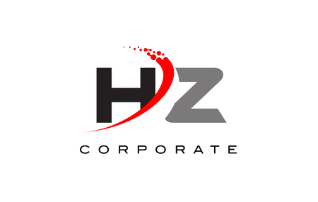 HZ Modern Letter Logo Design with Red Swoosh and Dots.