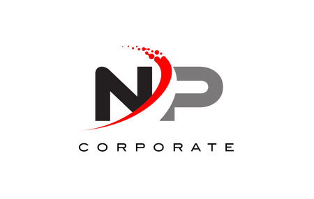 NP Modern Letter Logo Design with Red Swoosh and Dots. Logó