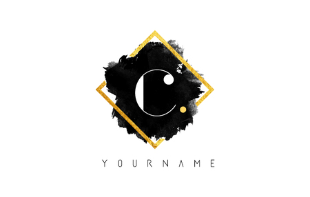 C Letter Logo Design with Black ink Stroke over Golden Square Frame.