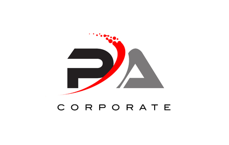 PA Modern Letter Logo Design with Red Swoosh and Dots