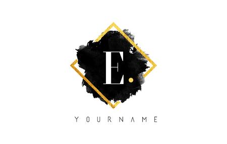 E Letter Logo Design with Black ink Stroke over Golden Square Frame. Illustration