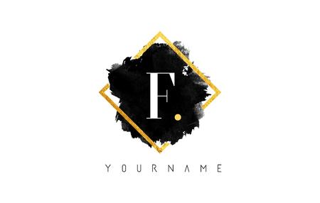 F Letter Logo Design with Black ink Stroke over Golden Square Frame.