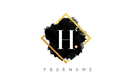H-Buchstabe-Logo-Design mit schwarzer Tinte Anschlag über goldenem quadratischem Feld.
