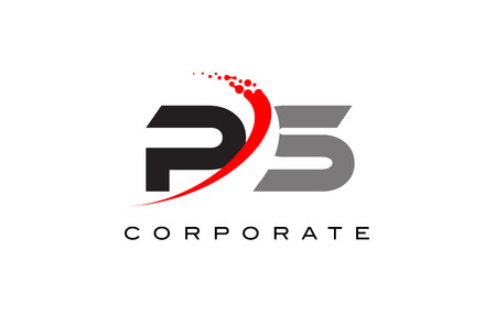 PS Modern Letter Logo Design with Red Swoosh and Dots.
