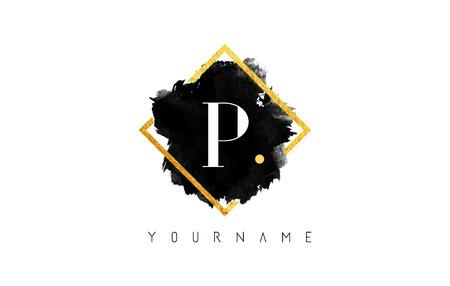 P Letter Logo Design with Black ink Stroke over Golden Square Frame.