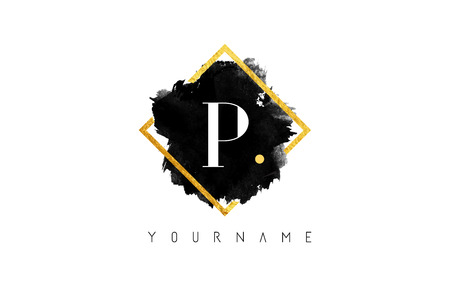 P Letter Logo Design with Black ink Stroke over Golden Square Frame.