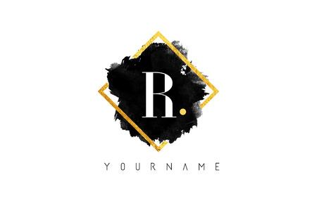 R Lettre Logo Design avec l'encre noire Stroke sur cadre carré d'or.