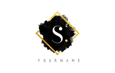 S 文字ロゴ デザイン黒インク ストローク黄金正方形フレームの上で。
