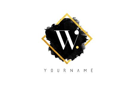 黒インク ストローク黄金正方形フレームの上で W 文字ロゴ デザイン。