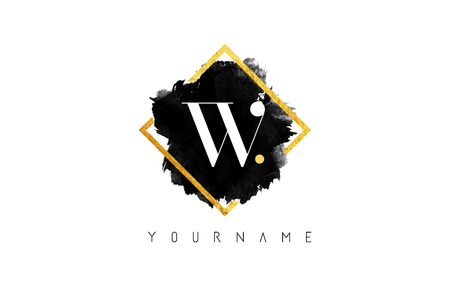 W lettre Logo Design avec l'encre noire Stroke sur cadre carré d'or.