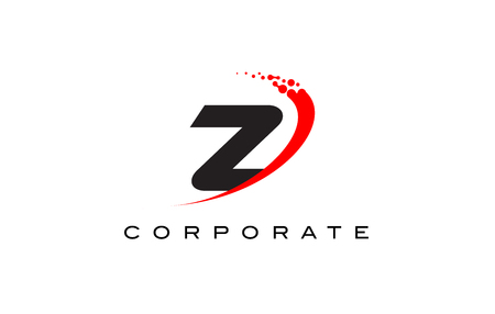 Z Modern Letter Logo Design with Red Swoosh and Dots