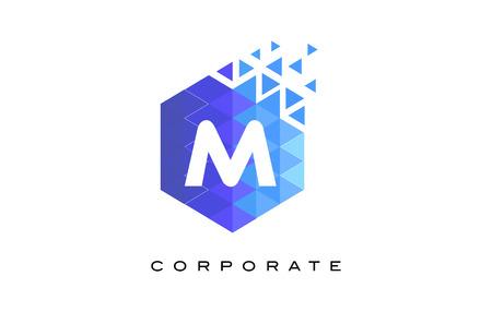 M Blue Hexagonal Letter Logo Design with Mosaic Blue Pattern.