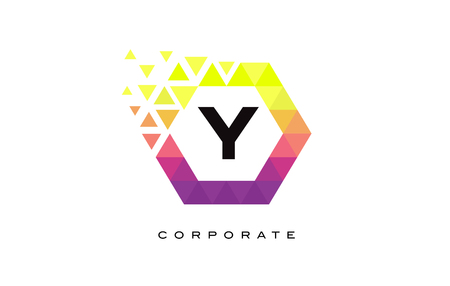 y shaped: Y Colorful Hexagon Shaped Letter Logo Design with Rainbow Mosaic Pattern. Illustration