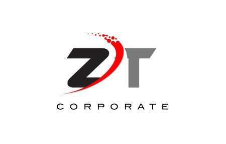 Kırmızı Swoosh ve Nokta ile ZT Modern Mektup Logo Tasarımı.