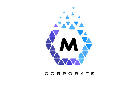M Blue Hexagon Letter Logo Design with Blue Mosaic Triangles Pattern.