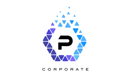 P Blue Hexagon Letter Logo Design with Blue Mosaic Triangles Pattern.