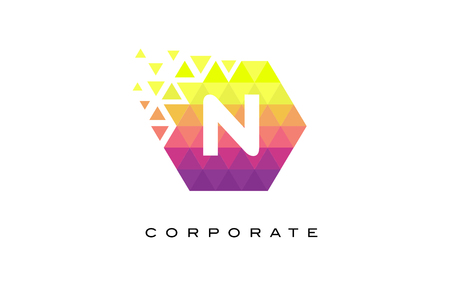 N Colorful Hexagonal Letter Logo Design with Mosaic Rainbow Pattern. Illustration