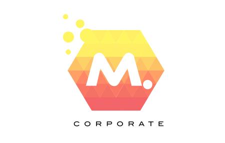 M Orange Hexagon Shaped Letter Logo Design with Dots Bubbles.