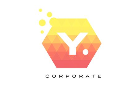 y shaped: Y Orange Hexagon Shaped Letter Logo Design with Dots Bubbles.