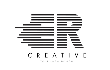 er: ER E R Zebra Letter Logo Design with Black and White Stripes Vector Illustration