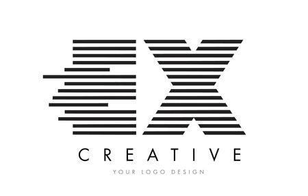 ex: EX E X Zebra Letter Logo Design with Black and White Stripes Vector Illustration