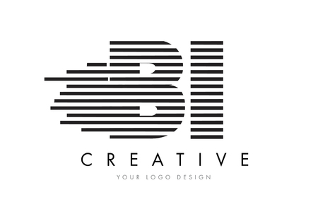 BI B I Zebra Letter Logo Design with Black and White Stripes Vector Çizim