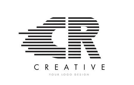 cr: CR C R Zebra Letter Logo Design with Black and White Stripes Vector Illustration