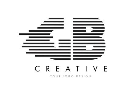 GB G B Zebra Letter Logo Design with Black and White Stripes Vector Illustration