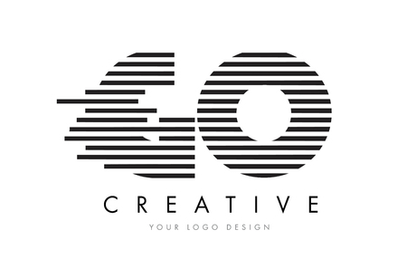 GO G O Zebra Letter Logo Design with Black and White Stripes Vector