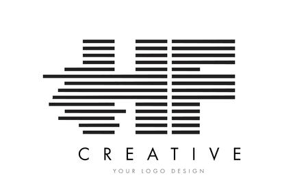 hf: HF H F Zebra Letter Logo Design with Black and White Stripes Vector