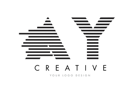 AY A Y Zebra Letter Logo Design with Black and White Stripes Vector