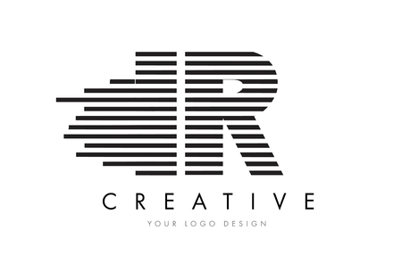 IR I R Zebra Letter Logo Design with Black and White Stripes Vector Illusztráció