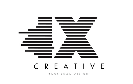 IX I X Zebra Letter Logo Design with Black and White Stripes Vector Stok Fotoğraf - 76221829