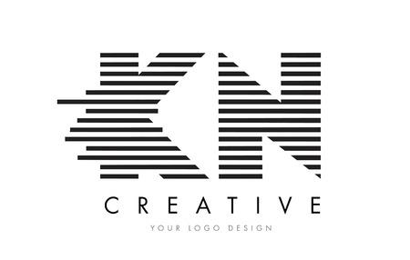 黒と白のストライプのベクトルと KN K N ゼブラ文字ロゴ デザイン