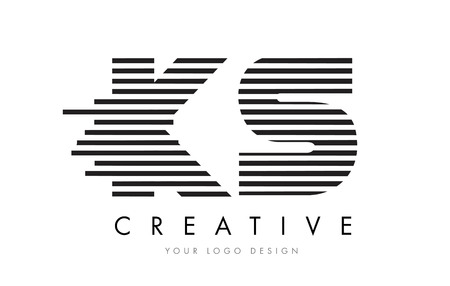 KS K S Zebra Letter Logo Design with Black and White Stripes Vector Ilustrace