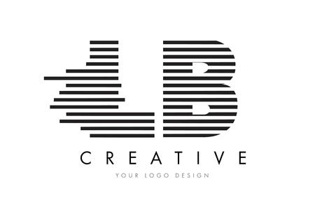 LB L B ゼブラ手紙黒と白のストライプのベクトルのロゴの設計