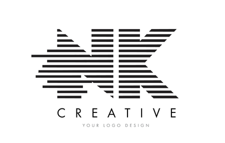 NK N K Zebra Letter Logo Design with Black and White Stripes Vector