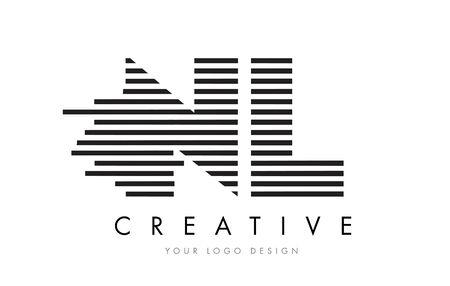 nl: NL N L Zebra Letter Logo Design with Black and White Stripes Vector Illustration