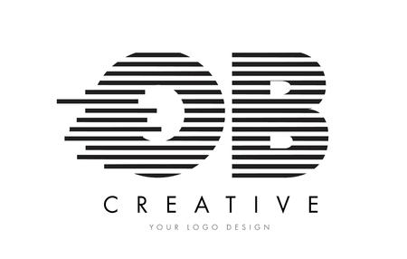 OB OB Zebra lettre Design Logo avec vecteur de rayures noires et blanches
