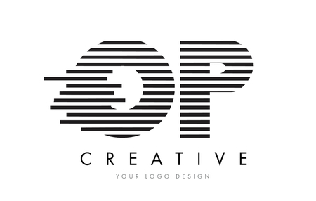 OP O P Zebra Letter Logo Design with Black and White Stripes Vector