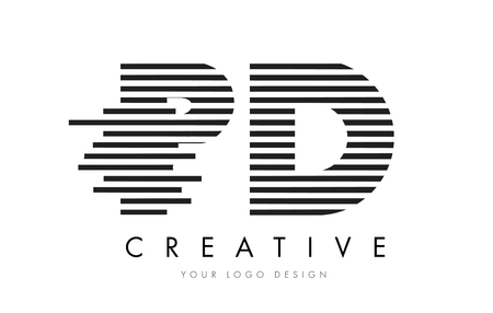 d: PD P D Zebra Letter Logo Design with Black and White Stripes Vector