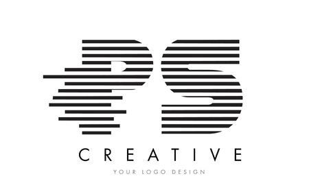 PS P S Zebra Letter Logo Design with Black and White Stripes Vector Illustration