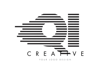 QI Q I Zebra Letter Logo Design with Black and White Stripes Vector