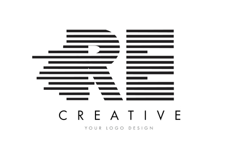 RE R E Zebra Letter Logo Design with Black and White Stripes Vector