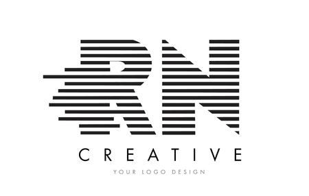RN R N Zebra Letter Logo Design with Black and White Stripes Vector